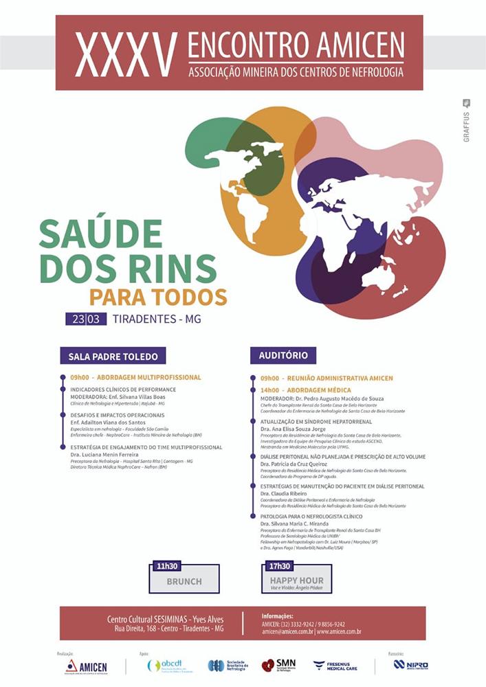 Programação Encontro Amicen - Direito dos Rins para Todos - Tiradentes, Minas Gerais